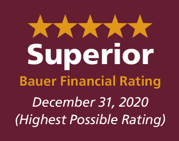 5 Star Superior Bauer Financial Rating December 31, 2019 (Highest Rating Possible)